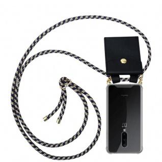 Cadorabo Handy Kette für OnePlus 7 PRO in DUNKELBLAU GELB - Silikon Necklace Umhänge Hülle mit Gold Ringen, Kordel Band Schnur und abnehmbarem Etui ? Schutzhülle