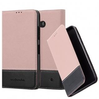 Cadorabo Hülle für Nokia Lumia 640 in ROSÉ GOLD SCHWARZ ? Handyhülle mit Magnetverschluss, Standfunktion und Kartenfach ? Case Cover Schutzhülle Etui Tasche Book Klapp Style