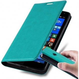 Cadorabo Hülle für Nokia Lumia 535 in PETROL TÜRKIS - Handyhülle mit Magnetverschluss, Standfunktion und Kartenfach - Case Cover Schutzhülle Etui Tasche Book Klapp Style