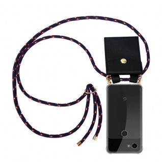 Cadorabo Handy Kette für Google Pixel 3a XL in BLAU ROT WEISS GEPUNKTET - Silikon Necklace Umhänge Hülle mit Gold Ringen, Kordel Band Schnur und abnehmbarem Etui ? Schutzhülle