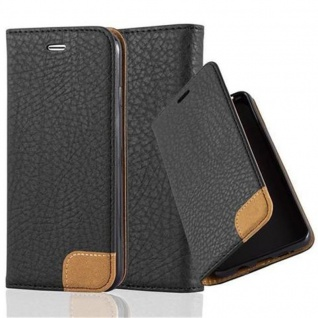 Cadorabo Hülle für Apple iPhone 6 / iPhone 6S - Hülle in SIGNAL SCHWARZ ? Handyhülle mit Standfunktion, Kartenfach und Textil-Patch - Case Cover Schutzhülle Etui Tasche Book Klapp Style