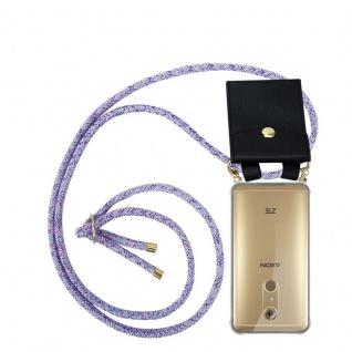 Cadorabo Handy Kette für ZTE Axon 7 in UNICORN - Silikon Necklace Umhänge Hülle mit Gold Ringen, Kordel Band Schnur und abnehmbarem Etui ? Schutzhülle