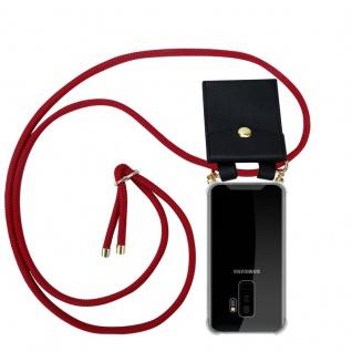 Cadorabo Handy Kette für Samsung Galaxy S9 PLUS in RUBIN ROT Silikon Necklace Umhänge Hülle mit Gold Ringen, Kordel Band Schnur und abnehmbarem Etui Schutzhülle