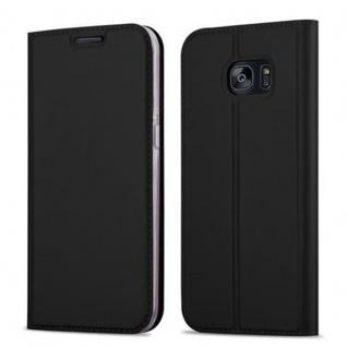 Cadorabo Hülle für Samsung Galaxy S7 EDGE in CLASSY SCHWARZ - Handyhülle mit Magnetverschluss, Standfunktion und Kartenfach - Case Cover Schutzhülle Etui Tasche Book Klapp Style