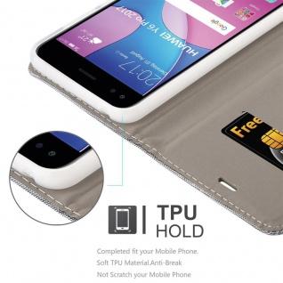 Cadorabo Hülle für Huawei Y6 PRO 2017 in HELL GRAU BRAUN - Handyhülle mit Magnetverschluss, Standfunktion und Kartenfach - Case Cover Schutzhülle Etui Tasche Book Klapp Style - Vorschau 3