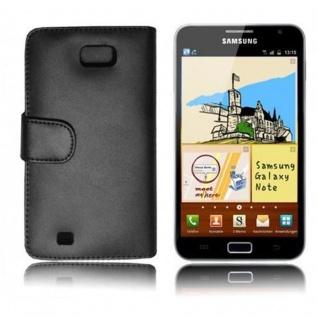 Cadorabo Hülle für Samsung Galaxy NOTE 1 in KAVIAR SCHWARZ ? Handyhülle aus glattem Kunstleder mit Standfunktion und Kartenfach ? Case Cover Schutzhülle Etui Tasche Book Klapp Style - Vorschau 3