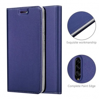 Cadorabo Hülle für Samsung Galaxy A30S in CLASSY DUNKEL BLAU - Handyhülle mit Magnetverschluss, Standfunktion und Kartenfach - Case Cover Schutzhülle Etui Tasche Book Klapp Style - Vorschau 5