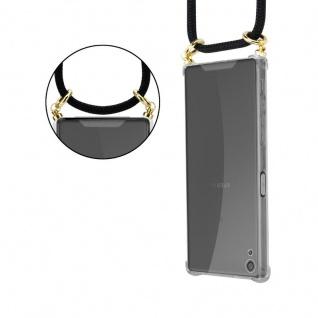 Cadorabo Handy Kette für Sony Xperia XA in SCHWARZ ? Silikon Necklace Umhänge Hülle mit Gold Ringen, Kordel Band Schnur und abnehmbarem Etui ? Schutzhülle - Vorschau 2