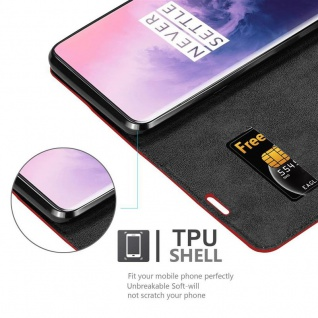 Cadorabo Hülle für OnePlus 7 PRO in APFEL ROT Handyhülle mit Magnetverschluss, Standfunktion und Kartenfach Case Cover Schutzhülle Etui Tasche Book Klapp Style - Vorschau 5
