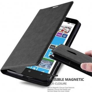 Cadorabo Hülle für Nokia Lumia 1320 in NACHT SCHWARZ Handyhülle mit Magnetverschluss, Standfunktion und Kartenfach Case Cover Schutzhülle Etui Tasche Book Klapp Style