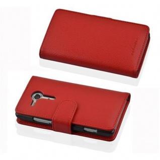 Cadorabo Hülle für Sony Xperia SP in INFERNO ROT - Handyhülle aus strukturiertem Kunstleder mit Standfunktion und Kartenfach - Case Cover Schutzhülle Etui Tasche Book Klapp Style - Vorschau 3