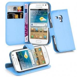 Cadorabo Hülle für Samsung Galaxy TREND PLUS in PASTEL BLAU - Handyhülle mit Magnetverschluss, Standfunktion und Kartenfach - Case Cover Schutzhülle Etui Tasche Book Klapp Style
