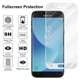 Cadorabo Vollbild Panzer Folie für Samsung Galaxy J7 2017 - Schutzfolie in TRANSPARENT mit WEISS - Gehärtetes (Tempered) Display-Schutzglas in 9H Härte mit 3D Touch Kompatibilität - Vorschau 4