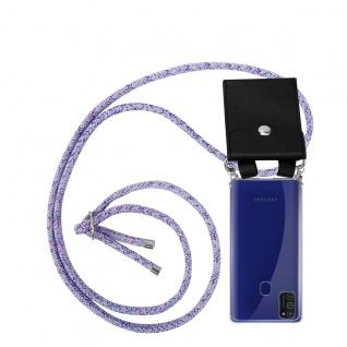 Cadorabo Handy Kette für Samsung Galaxy M21 in UNICORN Silikon Necklace Umhänge Hülle mit Silber Ringen, Kordel Band Schnur und abnehmbarem Etui Schutzhülle