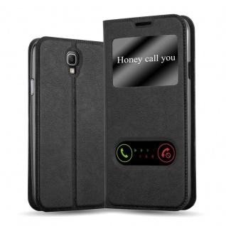Cadorabo Hülle für Samsung Galaxy NOTE 3 NEO in KOMETEN SCHWARZ - Handyhülle mit Magnetverschluss, Standfunktion und 2 Sichtfenstern - Case Cover Schutzhülle Etui Tasche Book Klapp Style