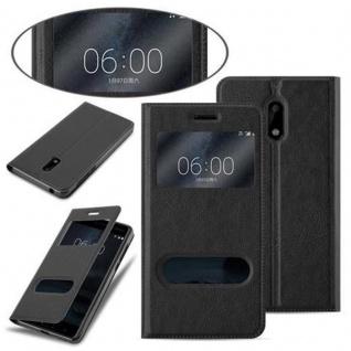 Cadorabo Hülle für Nokia 6 2017 in KOMETEN SCHWARZ - Handyhülle mit Magnetverschluss, Standfunktion und 2 Sichtfenstern - Case Cover Schutzhülle Etui Tasche Book Klapp Style - Vorschau 3
