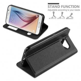 Cadorabo Hülle für Samsung Galaxy S6 in KOMETEN SCHWARZ - Handyhülle mit Magnetverschluss, Standfunktion und 2 Sichtfenstern - Case Cover Schutzhülle Etui Tasche Book Klapp Style - Vorschau 4