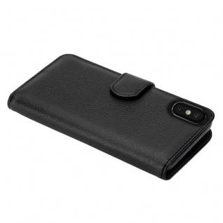 Cadorabo Hülle für Apple iPhone X / XS in OXID SCHWARZ ? Handyhülle mit Magnetverschluss und 3 Kartenfächern ? Case Cover Schutzhülle Etui Tasche Book Klapp Style - Vorschau 5