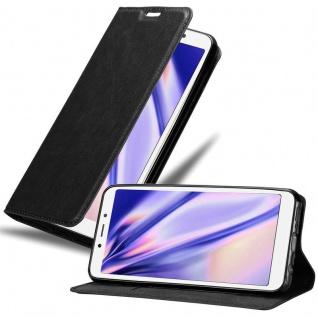 Cadorabo Hülle für Xiaomi RedMi 6A in NACHT SCHWARZ - Handyhülle mit Magnetverschluss, Standfunktion und Kartenfach - Case Cover Schutzhülle Etui Tasche Book Klapp Style