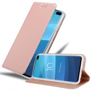 Cadorabo Hülle für Samsung Galaxy S10 PLUS in CLASSY ROSÉ GOLD - Handyhülle mit Magnetverschluss, Standfunktion und Kartenfach - Case Cover Schutzhülle Etui Tasche Book Klapp Style