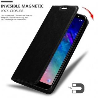 Cadorabo Hülle für Samsung Galaxy A6 PLUS 2018 in NACHT SCHWARZ - Handyhülle mit Magnetverschluss, Standfunktion und Kartenfach - Case Cover Schutzhülle Etui Tasche Book Klapp Style - Vorschau 3