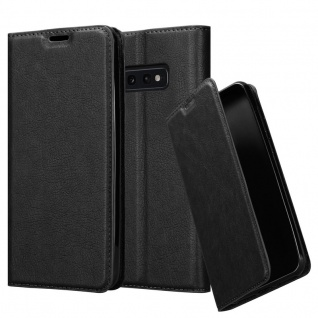 Cadorabo Hülle für Samsung Galaxy S10e in NACHT SCHWARZ - Handyhülle mit Magnetverschluss, Standfunktion und Kartenfach - Case Cover Schutzhülle Etui Tasche Book Klapp Style