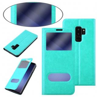 Cadorabo Hülle für Samsung Galaxy S9 PLUS in MINT TÜRKIS ? Handyhülle mit Magnetverschluss, Standfunktion und 2 Sichtfenstern ? Case Cover Schutzhülle Etui Tasche Book Klapp Style - Vorschau 3