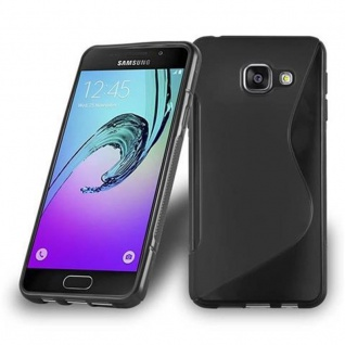 Cadorabo Hülle für Samsung Galaxy A3 2016 in OXID SCHWARZ ? Handyhülle aus flexiblem TPU Silikon ? Silikonhülle Schutzhülle Ultra Slim Soft Back Cover Case Bumper