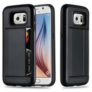 Cadorabo Hülle für Samsung Galaxy S6 - Hülle in ARMOR SCHWARZ ? Handyhülle mit Kartenfach - Hard Case TPU Silikon Schutzhülle für Hybrid Cover im Outdoor Heavy Duty Design