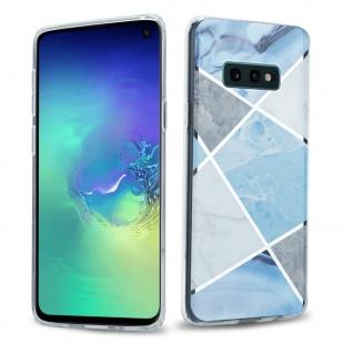 Cadorabo Hülle für Samsung Galaxy S10 Hülle in Blau weiß grau Marmor No.2 Handyhülle aus TPU Silikon mit Muster Mosaik Silikonhülle Schutzhülle Ultra Slim Back Cover Case Bumper