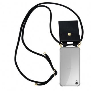 Cadorabo Handy Kette für Sony Xperia X in SCHWARZ - Silikon Necklace Umhänge Hülle mit Gold Ringen, Kordel Band Schnur und abnehmbarem Etui ? Schutzhülle
