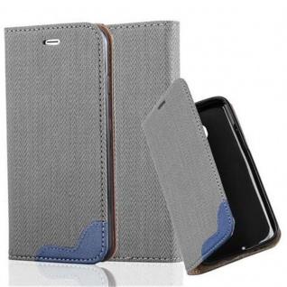 Cadorabo Hülle für Apple iPhone 6 / iPhone 6S - Hülle in GRAU BLAU ? Handyhülle in Bast-Optik mit Kartenfach und Standfunktion - Case Cover Schutzhülle Etui Tasche Book Klapp Style