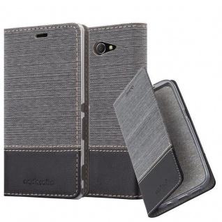 Cadorabo Hülle für Sony Xperia M2 in GRAU SCHWARZ - Handyhülle mit Magnetverschluss, Standfunktion und Kartenfach - Case Cover Schutzhülle Etui Tasche Book Klapp Style