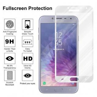 Cadorabo Vollbild Panzer Folie für Samsung Galaxy J4 2018 - Schutzfolie in TRANSPARENT mit WEISS - Gehärtetes (Tempered) Display-Schutzglas in 9H Härte mit 3D Touch Kompatibilität - Vorschau 4