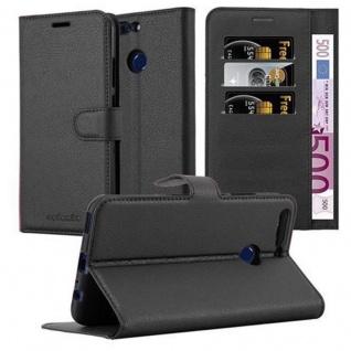 Cadorabo Hülle für Honor 8 PRO in PHANTOM SCHWARZ - Handyhülle mit Magnetverschluss, Standfunktion und Kartenfach - Case Cover Schutzhülle Etui Tasche Book Klapp Style