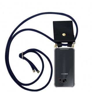 Cadorabo Handy Kette für Samsung Galaxy S7 EDGE in TIEF BLAU - Silikon Necklace Umhänge Hülle mit Gold Ringen, Kordel Band Schnur und abnehmbarem Etui ? Schutzhülle
