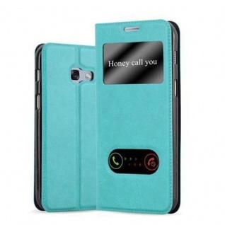 Cadorabo Hülle für Samsung Galaxy A3 2017 in MINT TÜRKIS ? Handyhülle mit Magnetverschluss, Standfunktion und 2 Sichtfenstern ? Case Cover Schutzhülle Etui Tasche Book Klapp Style