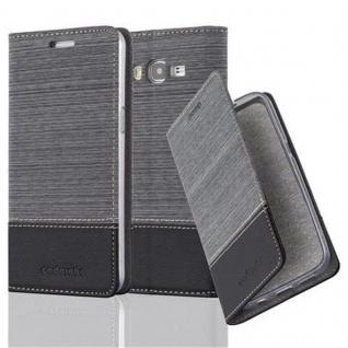 Cadorabo Hülle für Samsung Galaxy GRAND PRIME in GRAU SCHWARZ - Handyhülle mit Magnetverschluss, Standfunktion und Kartenfach - Case Cover Schutzhülle Etui Tasche Book Klapp Style