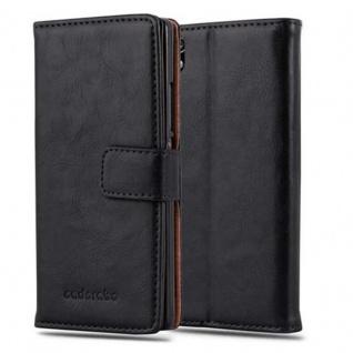 Cadorabo Hülle für Huawei P7 in GRAPHIT SCHWARZ ? Handyhülle mit Magnetverschluss, Standfunktion und Kartenfach ? Case Cover Schutzhülle Etui Tasche Book Klapp Style