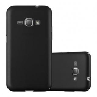 Cadorabo Hülle für Samsung Galaxy J1 2016 in METALL SCHWARZ - Hardcase Handyhülle aus Plastik gegen Kratzer und Stöße - Schutzhülle Bumper Ultra Slim Back Case Hard Cover
