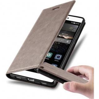 Cadorabo Hülle für Huawei P8 in KAFFEE BRAUN - Handyhülle mit Magnetverschluss, Standfunktion und Kartenfach - Case Cover Schutzhülle Etui Tasche Book Klapp Style