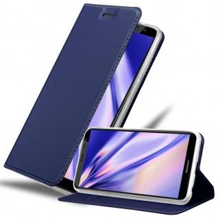 Cadorabo Hülle für Huawei MATE 10 LITE in CLASSY DUNKEL BLAU - Handyhülle mit Magnetverschluss, Standfunktion und Kartenfach - Case Cover Schutzhülle Etui Tasche Book Klapp Style