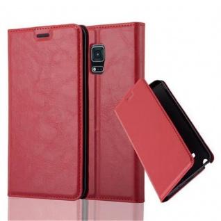 Cadorabo Hülle für Samsung Galaxy NOTE EDGE in APFEL ROT - Handyhülle mit Magnetverschluss, Standfunktion und Kartenfach - Case Cover Schutzhülle Etui Tasche Book Klapp Style