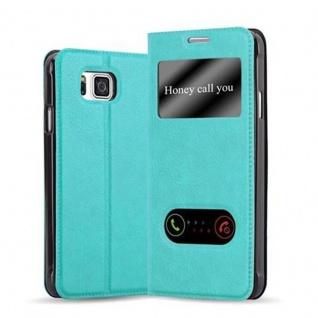 Cadorabo Hülle für Samsung Galaxy ALPHA in MINT TÜRKIS - Handyhülle mit Magnetverschluss, Standfunktion und 2 Sichtfenstern - Case Cover Schutzhülle Etui Tasche Book Klapp Style