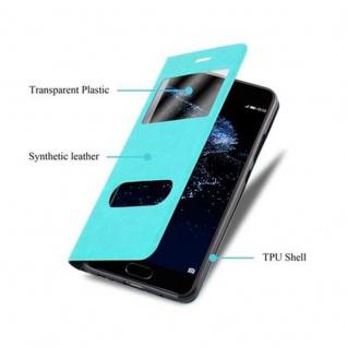 Cadorabo Hülle für Huawei P10 in MINT TÜRKIS - Handyhülle mit Magnetverschluss, Standfunktion und 2 Sichtfenstern - Case Cover Schutzhülle Etui Tasche Book Klapp Style - Vorschau 3