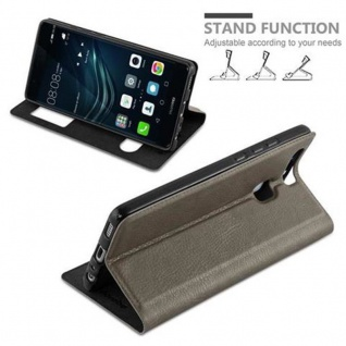 Cadorabo Hülle für Huawei P9 in STEIN BRAUN - Handyhülle mit Magnetverschluss, Standfunktion und 2 Sichtfenstern - Case Cover Schutzhülle Etui Tasche Book Klapp Style - Vorschau 4