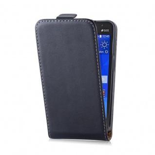 Cadorabo Hülle für Samsung Galaxy CORE 2 in KAVIAR SCHWARZ - Handyhülle im Flip Design aus glattem Kunstleder - Case Cover Schutzhülle Etui Tasche Book Klapp Style