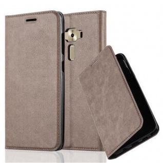 Cadorabo Hülle für Asus ZenFone 3 DELUXE in KAFFEE BRAUN - Handyhülle mit Magnetverschluss, Standfunktion und Kartenfach - Case Cover Schutzhülle Etui Tasche Book Klapp Style