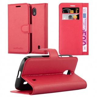 Cadorabo Hülle für Nokia 1 2017 in KARMIN ROT - Handyhülle mit Magnetverschluss, Standfunktion und Kartenfach - Case Cover Schutzhülle Etui Tasche Book Klapp Style