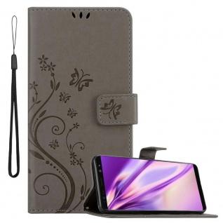 Cadorabo Hülle für Samsung Galaxy NOTE 8 in FLORAL GRAU Handyhülle im Blumen Design mit Magnetverschluss, Standfunktion und 3 Kartenfächern Case Cover Schutzhülle Etui Tasche